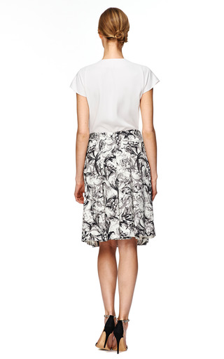 Ivory Baroque Stretch Cotton Pleated Skirt by CAROLINA HERRERA Now Available on Moda Operandi