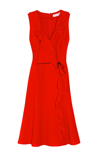 Medium carolina herrera red rak wool crepe dress