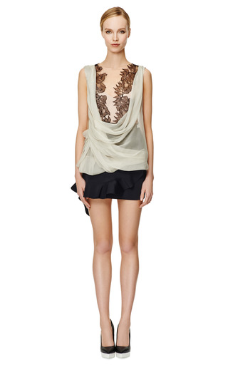 Two Tone Cowl Neck Wrap Blouse by ALBERTA FERRETTI Now Available on Moda Operandi
