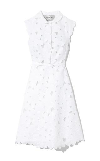 Medium valentino white ricamato daisy cap sleeve dress