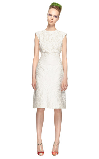 Matelasse Piazzato Cap Sleeve Dress W/ Embroidered Bodice by VALENTINO Now Available on Moda Operandi