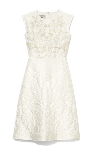 Medium valentino ivory matelasse piazzato cap sleeve dress w embroidered bodice