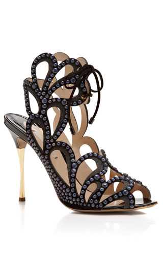 Medium nicholas kirkwood black studded leather and suede sandals