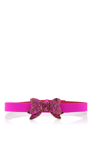 Medium oscar de la renta pink shocking pink belt with pink swarovski bow