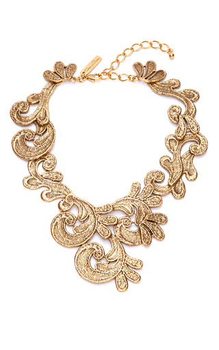 Medium oscar de la renta gold cast lace necklace