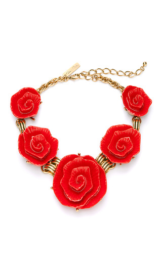 Medium oscar de la renta red red resin flower link neckalce