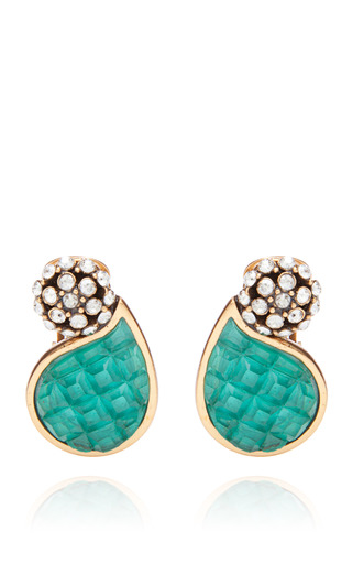 Medium oscar de la renta blue swarovski and calibre style petal earring