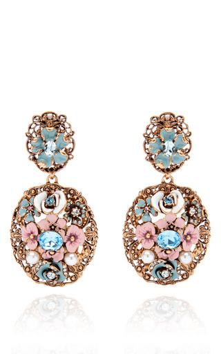 Medium oscar de la renta green baroque floral earrings