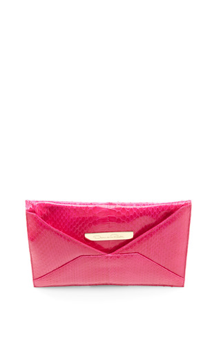 Shocking Pink Midi Envolope Clutch by OSCAR DE LA RENTA Now Available on Moda Operandi