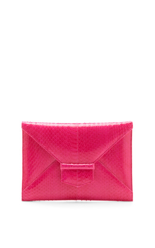 Medium oscar de la renta pink shocking pink midi envolope clutch