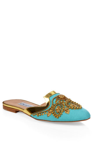 Medium oscar de la renta gold aqua spanish mule slipper