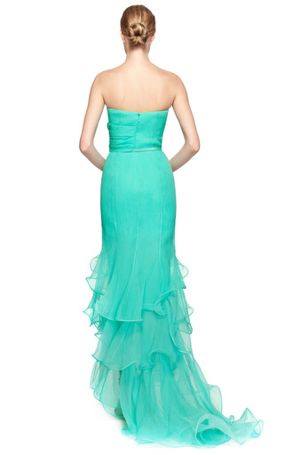 Sweetheart Draped Bodice Gown With Ruffle Hem by OSCAR DE LA RENTA Now Available on Moda Operandi