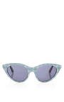 Cat Eye Sunglasses In Seafom Gingham by OPENING CEREMONY Now Available on Moda Operandi