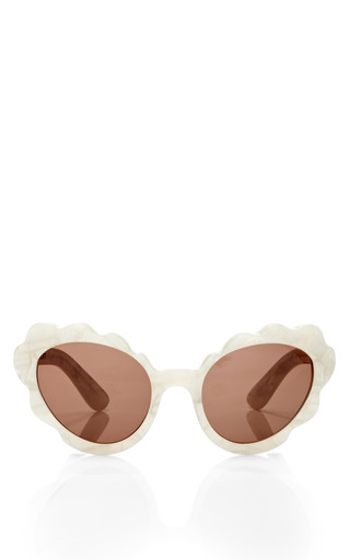 Medium opening ceremony off white flower cat eye sunglasses in off white peal