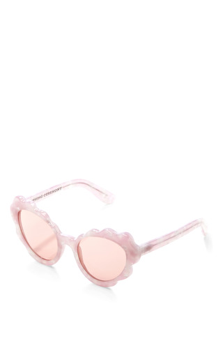 Flower Cat Eye Sunglasses In Light Pink Pearl by OPENING CEREMONY Now Available on Moda Operandi
