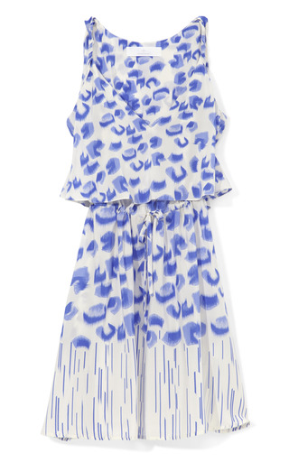 Medium thakoon addition blue blurry leopard printed double layer v neck dress