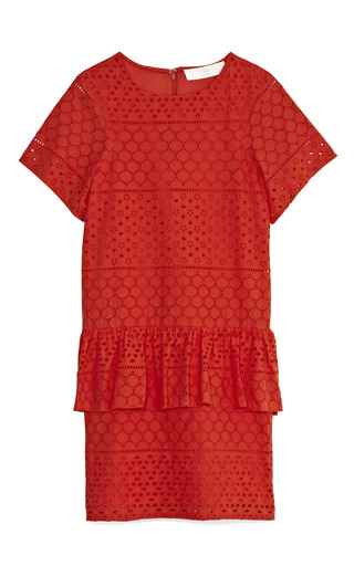Medium thakoon addition pink eyelet peplum dress