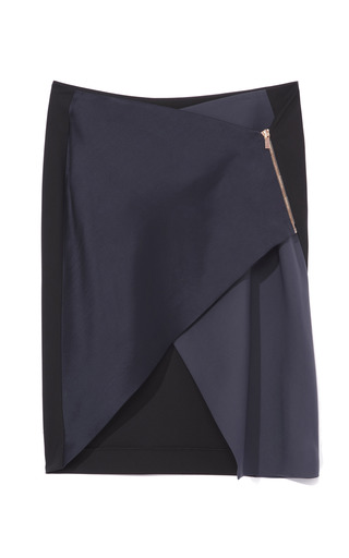 Medium cedric charlier black two tone wrap skirt
