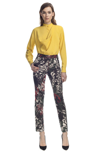 Medium cedric charlier multi printed silk trousers