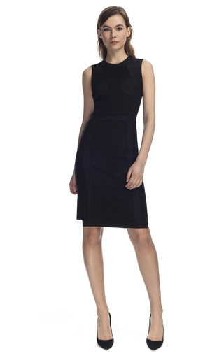 Medium cedric charlier black wool panel dress