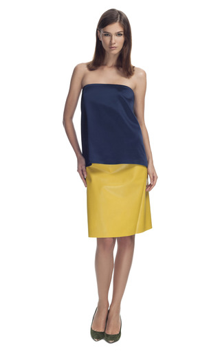 Medium cedric charlier blue two tone strapless dress