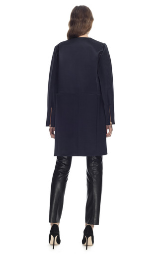 Satin Collarless Car Coat by CéDRIC CHARLIER for Preorder on Moda Operandi