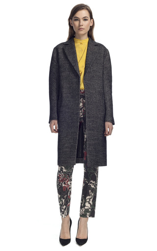 Medium cedric charlier black tweed car coat