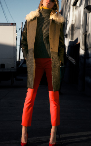Shearling Shawl Collar Car Coat by CéDRIC CHARLIER for Preorder on Moda Operandi