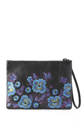 Embroidered Leather Clutch In Blue Bouquet by CHRISTOPHER KANE for Preorder on Moda Operandi