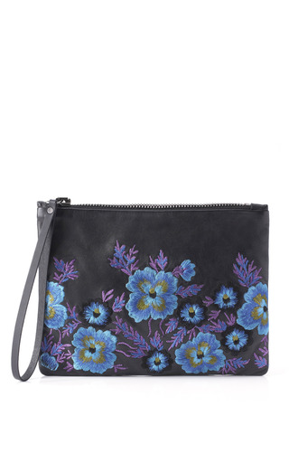 Medium christopher kane multi embroidered leather clutch in blue bouquet