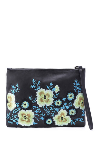 Embroidered Leather Clutch In Green Bouquet by CHRISTOPHER KANE for Preorder on Moda Operandi