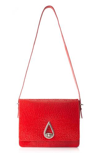 Medium kenzo red large raindrop patent pebbled leather shoulder bag