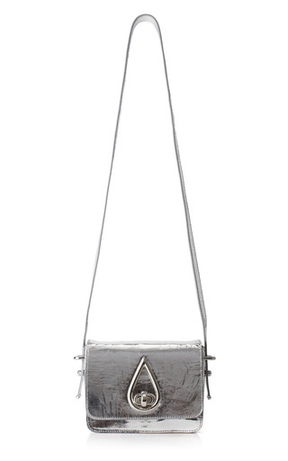 Medium kenzo silver small metallic cracked leather shoulder bag in silver