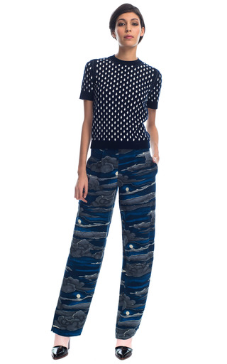 Medium kenzo black crepe night clouds pants