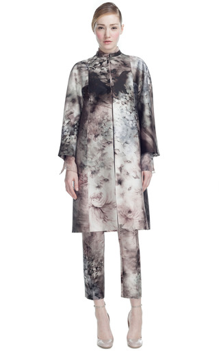 Medium valentino dark grey fluid garden mikado mid length coat