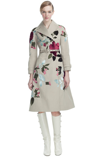 Medium valentino brown padded popeline trench