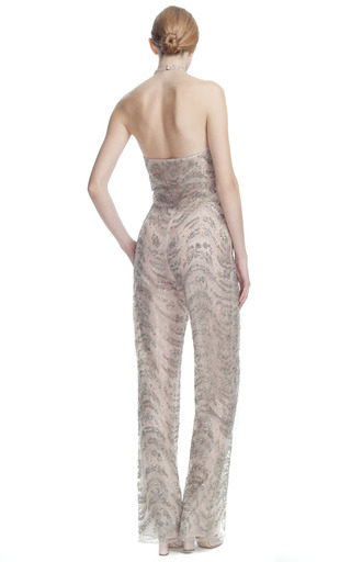 Tulle Illusione Embroidered Halter Jumpsuit by VALENTINO for Preorder on Moda Operandi