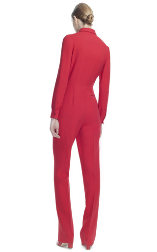 Cady Seta Lana Long Sleeve Jumpsuit by VALENTINO for Preorder on Moda Operandi