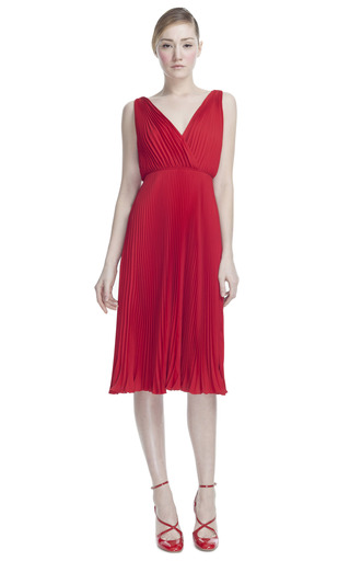 Medium valentino red georgette double sleeveless plisse dress
