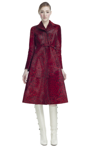 Medium valentino red belted printed baby calf long trench