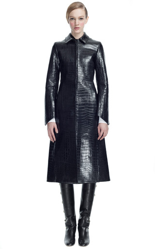 Double Croco Coat With Cashmere Lining by VALENTINO for Preorder on Moda Operandi