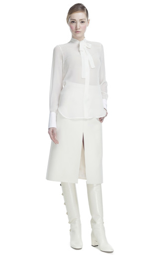 Piquet Cuff Georgette Long Sleeve Blouse by VALENTINO for Preorder on Moda Operandi