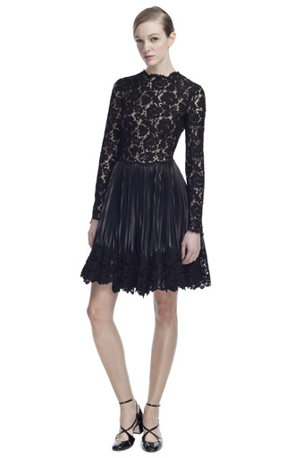 Lace Bodice Leather Long Sleeve Dress by VALENTINO for Preorder on Moda Operandi