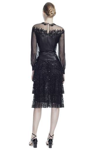 Leather And Chantilly Lace Long Sleeve Dress by VALENTINO for Preorder on Moda Operandi