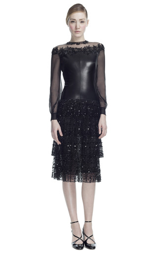 Medium valentino black leather and chantilly lace long sleeve dress