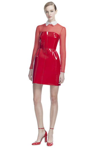 Medium valentino black lacca dress with organza sleeve