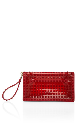 Medium valentino red rouge studded flap clutch