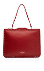 Rouge Studded Satchel by VALENTINO for Preorder on Moda Operandi
