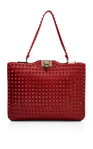 Medium valentino red rouge studded satchel