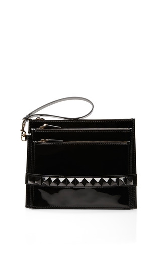 Medium valentino black patent punkouture clutch